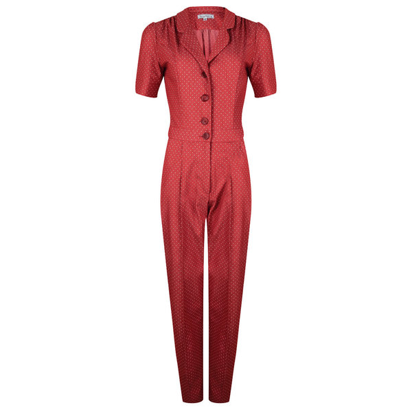Classic Jumpsuit Denim Red Dots