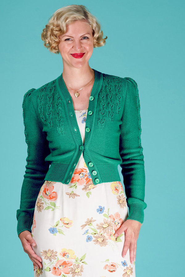The Peggy Sue Cardigan Emerald Green Wool
